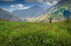 Landsacpen av Lalazar med Floewrs berg och himlen Royaltyfri Foto