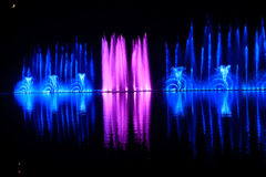 Landsape of color and music fountain. On lake Stock Images