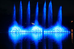 Landsape of colorful fountain. Landsape of a colorful fountain at night Royalty Free Stock Photography