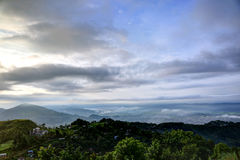 Landsape of early morning in pokhara. Sarangkot is a village and famous tourist destination for viewing serene beauty of Himalayas Stock Photography