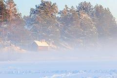 Landsauna und ein Winter nebeln über dem gefrorenen Fluss ein Stockbilder