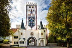 Landsberg am Lech - Bayertor, historische stadspoort Beieren, Duitsland stock afbeeldingen