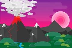 Landscap del vulcano Illustrazione di Stock