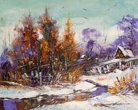 landscape сельская зима Стоковые Фотографии RF