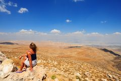 Landscape. Woman  Looking At The Judea Mountains Near Dead Sea Stock Photo