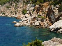 Landscape. Severe rusty  rocky  coast of adriatic sea Stock Photos