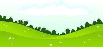 Landscape. Green daisy field & perfect beautiful sky Royalty Free Stock Image
