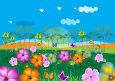 Colorful landscape illustration. Featuring flowers and butterflies Royalty Free Stock Images