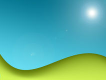 Landscape. Green mountains  with  the sun light. abstract illustration Royalty Free Stock Photography