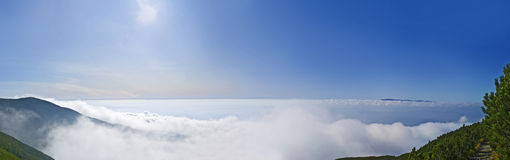 Landscape. Valley covered in clouds from the mountain stock photos
