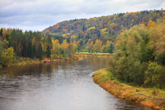 Landscape. Colorful autumn in Sugulda near to river Gauja, Latvia Royalty Free Stock Photo