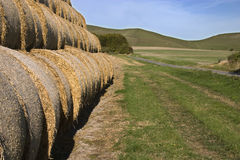 Straw bales hayrick. Landscape of straw bales and hills Stock Images