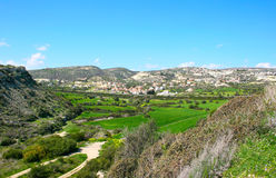 Landscape. Cyprus landscape with hills,gardens,road and houses Royalty Free Stock Photos