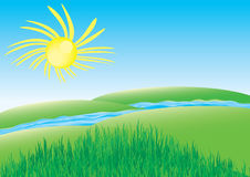 Landscape. With green hills with grass, a river between them and funny sun over blue sky Stock Images