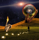 Landscape. With large hand and sphere Stock Photo