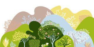 Hilly landscape with trees, bushes and plants. Growing plants and gardening. Protection and preservation of the environment. vector illustration