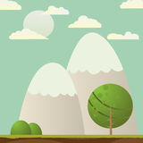 Landscape. With tree and mountains, abstract card Royalty Free Stock Photography