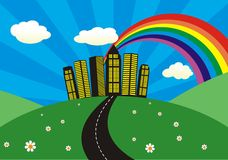 Landscape. With skyscrapers and rainbow Stock Images