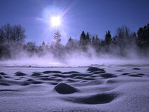 Landscape. Winter landscape in a cold weather stock photography