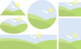 Landscape. Six landscape for label design Royalty Free Stock Images