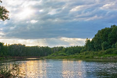 Landscape. Sunset on River Ural. Russia Royalty Free Stock Photography