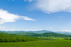 Landscape 2. Summer.Foothills. On a background of mountain Stock Image