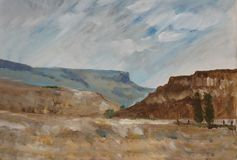 Landscape 2. Oil painting of a landscape in the Free State Stock Photography
