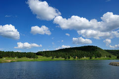 Landscape. Inner Mongolia Landscape, lake, hill and forest under blue sky and white cloud, in China Royalty Free Stock Image