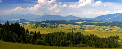 Landscape. Panoramic view of summer hilly countryside in Slovakia, Europe Royalty Free Stock Images