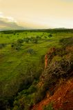 Landscape. Standing up on large mound of dirt looking out over the landscape of grazing land in a beautiful shade of green warmed by the morning sun as it rise Stock Photos