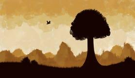 Landscape. Africa landscape illustration. tree and hills Stock Image