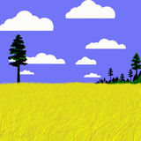 Landscape. Graphic design landscape of forest and field Stock Photography
