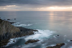 Landscape. Atlantic ocean sunset landscape in portuguese west coast stock images
