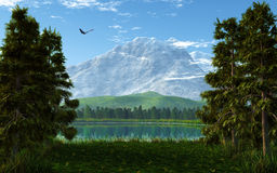 Landscape. This image shows a idyllic landscape with a flying eagle stock illustration