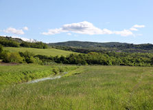 Landscape. Lovely meadows and a river Royalty Free Stock Photography