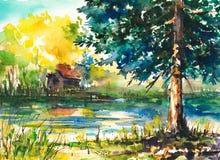Landscape. Watercolor Landscape -house near the lake vector illustration
