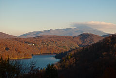 Landscape. View of the Plitvice Lakes national park royalty free stock photo