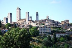 Landscape. The General view of San Gimignano in Tuscany Stock Photos