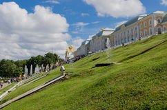 Landscape. View of the Grand Palace in Petrodvorets Stock Images