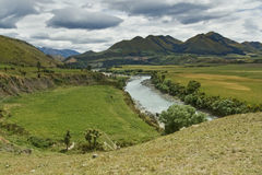 Landscape. Taken in New Zealand. Beautiful green landscape with dramatic looking sky stock photography