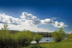 Landscape. With blue sky and white clouds stock photos
