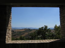 Landscape. A view from tha Corinaldo's bastion, Italy stock image