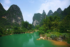 Landscape. Detian cross-border great fall Green hills and blue water Stock Photos