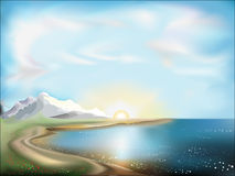 Landscape. With the ocean, mountains and the sun go Stock Photography