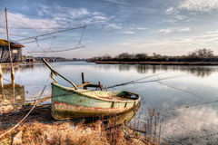 Landscape with abandoned boat Stock Photo