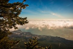 Landscape above and below clouds on Mount Ai Petri in Crimea,. Landscape above and below clouds on Mount Ai Petri in Crimea in Russia stock photography