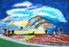 Landscape. Abstract pastels colorful drawing. Royalty Free Stock Images
