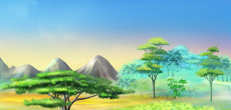 Landscape with Acacia Tree in Mountains Stock Photo