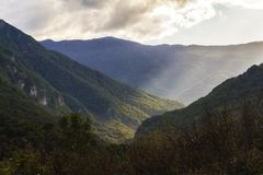 Landscape across border between Bosnia and Herzegovina and Monte Royalty Free Stock Photos