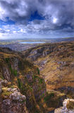 Landscape across top of ancient mountain gorge Royalty Free Stock Photo